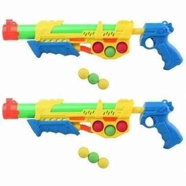 Goedkope x waterpistolen pomp ballen geel/blauw