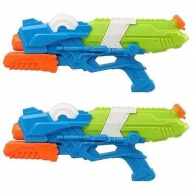 Goedkope x waterpistolen pomp blauw/groen