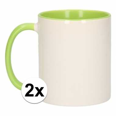 Goedkope x wit groene blanco mok