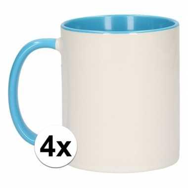 Goedkope x wit lichtblauwe blanco mok