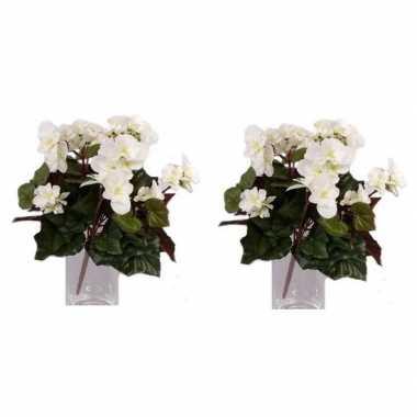Goedkope x witte begonia kunstplanten binnen