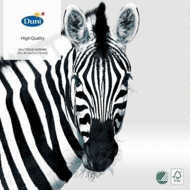 Goedkope x zebra dieren thema servetten zwart/wit