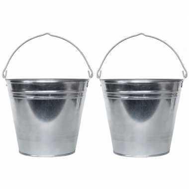 Goedkope x zilveren emmers liter zink