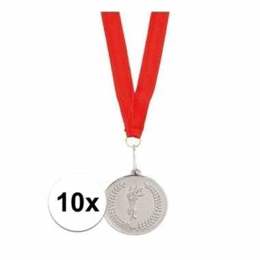 Goedkope x zilveren medailles tweede prijs aan rood lint
