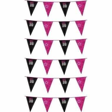 Goedkope x zwart/roze sweet vlaggenlijnen meter