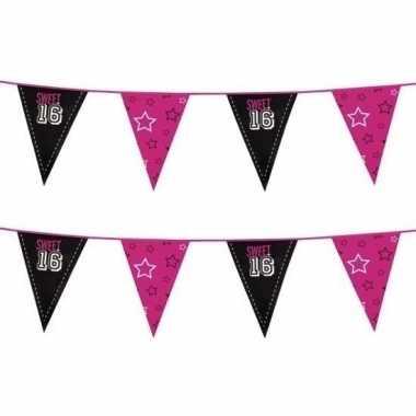 Goedkope x zwart /roze sweet vlaggenlijnen meter