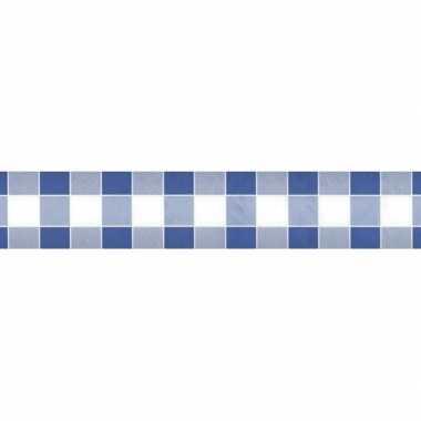 Goedkope xblauw/wit ruitjes papieren tafellaken/tafelkleed