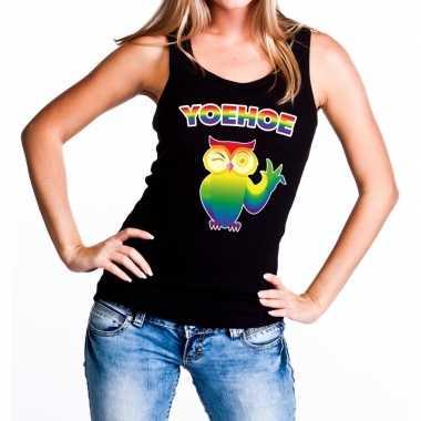 Goedkope yoehoe gay pride tanktop knipogende uil zwart dames
