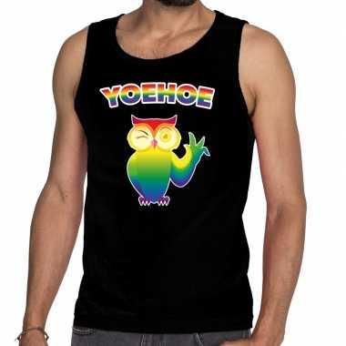 Goedkope yoehoe gay pride tanktop knipogende uil zwart heren