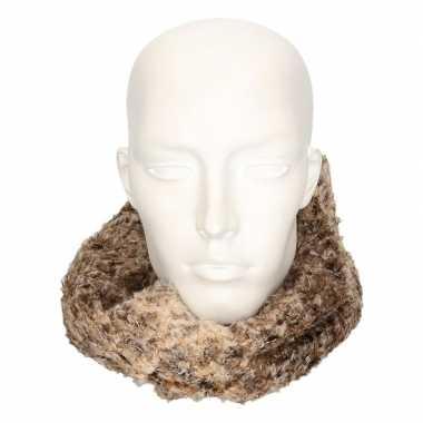 Goedkope zachte col sjaal bruin/luipaard volwassenen