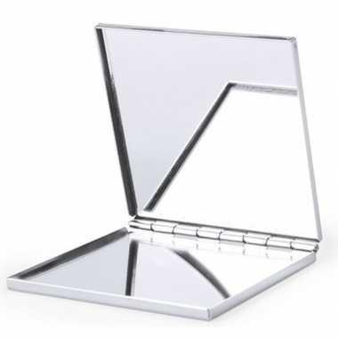 Goedkope zakspiegel/make up spiegel zilver vierkant