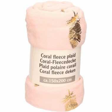 Goedkope zalm roze gouden blaadjes fleece deken