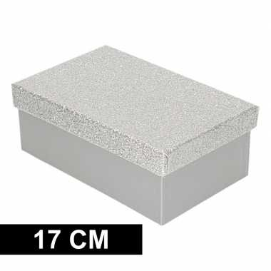 Goedkope zilver glitter cadeaudoosje rechthoekig