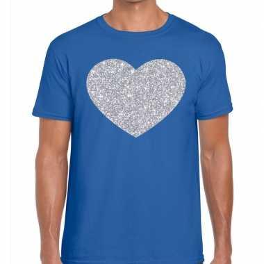 Goedkope zilver hart glitter fun t shirt blauw heren