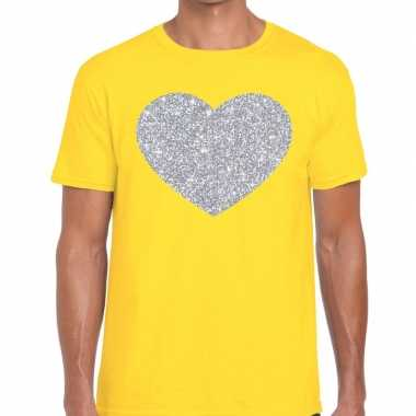 Goedkope zilver hart glitter fun t shirt geel heren