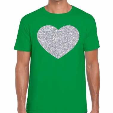 Goedkope zilver hart glitter fun t shirt groen heren