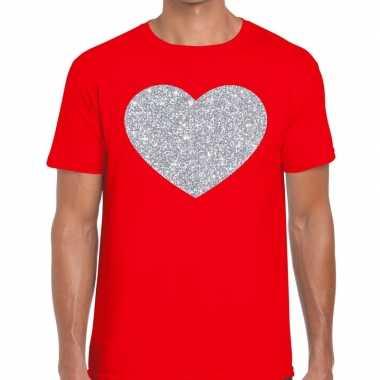 Goedkope zilver hart glitter fun t shirt rood heren