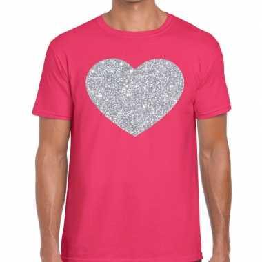 Goedkope zilver hart glitter fun t shirt roze heren