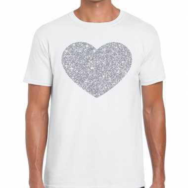 Goedkope zilver hart glitter fun t shirt wit heren
