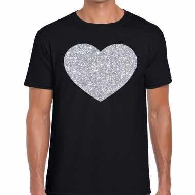 Goedkope zilver hart glitter fun t shirt zwart heren