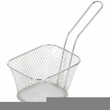 Goedkope zilver patat/snack serveermandje/frituurmandje