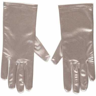 Goedkope zilveren gala handschoenen kort satijn