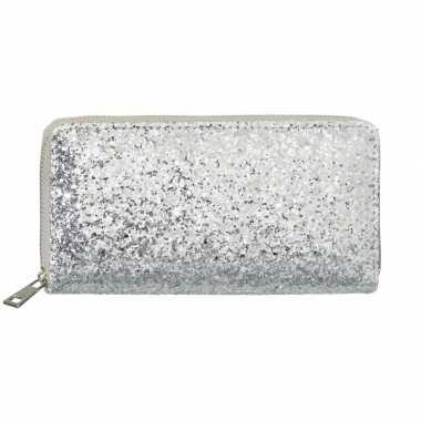 Goedkope zilveren glitter portemonnee dames