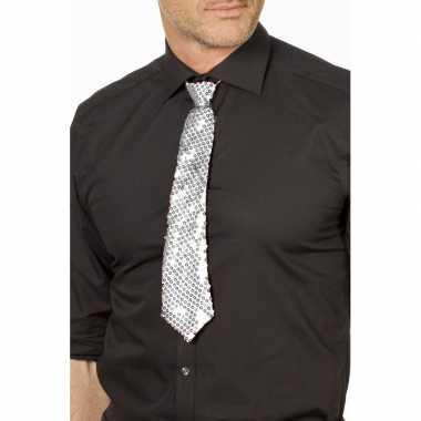 Goedkope zilveren glitter stropdas verkleedaccessoire dames/heren