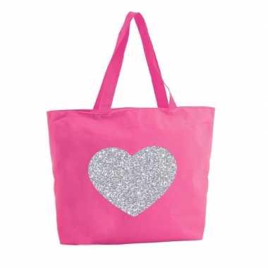 Goedkope zilveren hart glitter shopper tas fuchsia roze