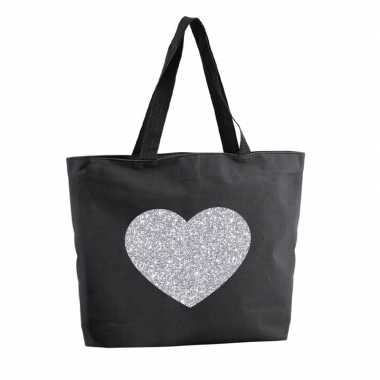 Goedkope zilveren hart glitter shopper tas zwart