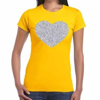 Goedkope zilveren hart glitter t shirt geel dames