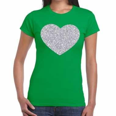 Goedkope zilveren hart glitter t shirt groen dames