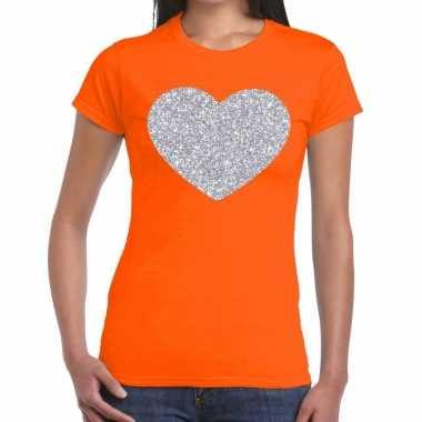 Goedkope zilveren hart glitter t shirt oranje dames