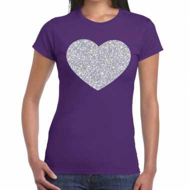 Goedkope zilveren hart glitter t shirt paars dames