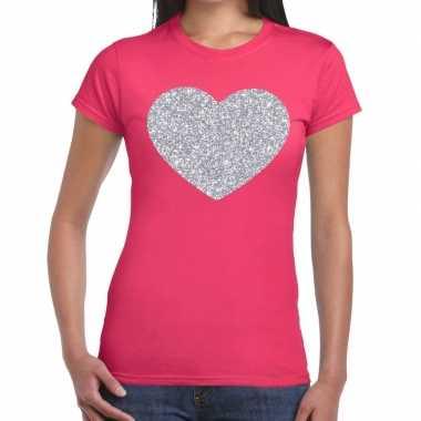 Goedkope zilveren hart glitter t shirt roze dames