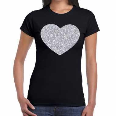 Goedkope zilveren hart glitter t shirt zwart dames