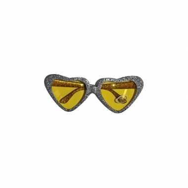 Goedkope zilveren hartjes bril gouden glazen