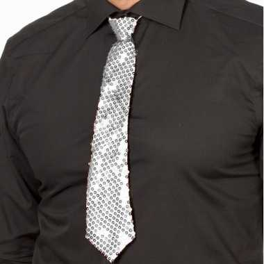 Goedkope zilveren oud nieuw glitter stropdas verkleedaccessoire