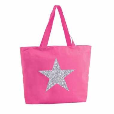Goedkope zilveren ster glitter shopper tas fuchsia roze