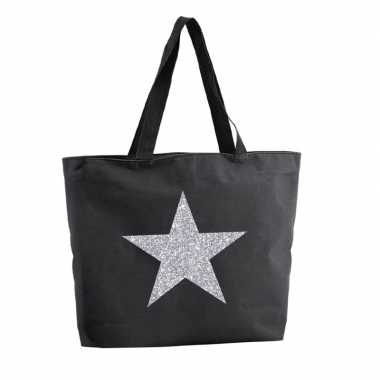 Goedkope zilveren ster glitter shopper tas zwart
