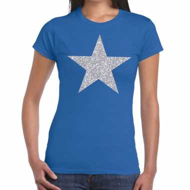 Goedkope zilveren ster glitter t shirt blauw dames