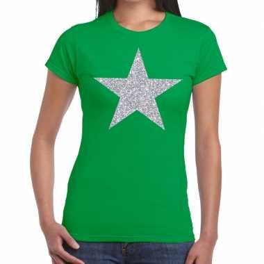 Goedkope zilveren ster glitter t shirt groen dames