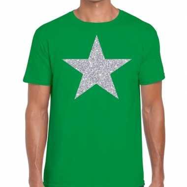 Goedkope zilveren ster glitter t shirt groen heren