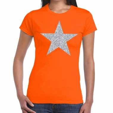 Goedkope zilveren ster glitter t shirt oranje dames