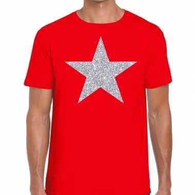 Goedkope zilveren ster glitter t shirt rood heren