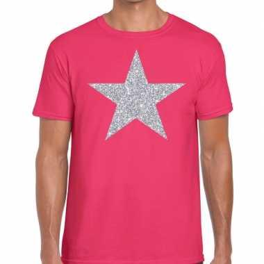 Goedkope zilveren ster glitter t shirt roze heren