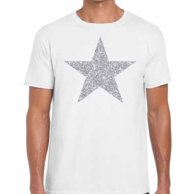 Goedkope zilveren ster glitter t shirt wit heren
