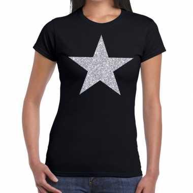 Goedkope zilveren ster glitter t shirt zwart dames
