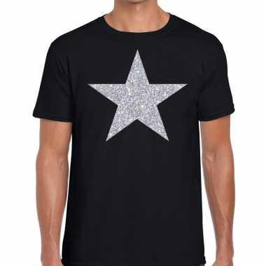 Goedkope zilveren ster glitter t shirt zwart heren