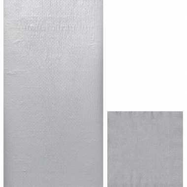 Goedkope zilveren tafeldecoratie set tafelkleed/servetten